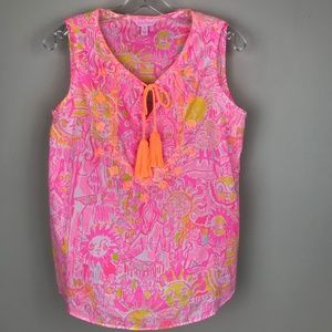 Lilly Pulitzer Lauren Tank Top Shirt Pink Floral S
